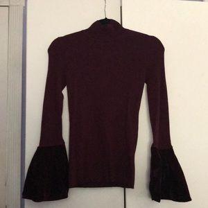Inc burgundy ribbed velvet sleeve top